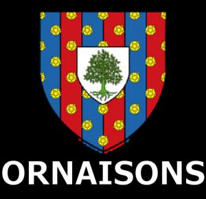 ecussons de la ville d'Ornaisons représentant un bouclier avec un arbre à l'intérieur
